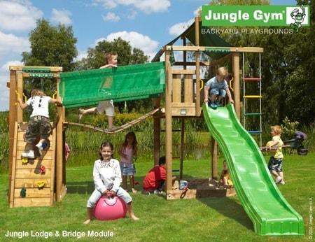 Hřiště Jungle Lodge s modulem Bridge - kompletní sestava včetně skluzavky