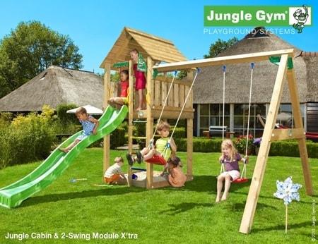 Hřiště Jungle Cabin s houpačkami 2-Swing X´tra - kompletní sestava včetně skluzavky