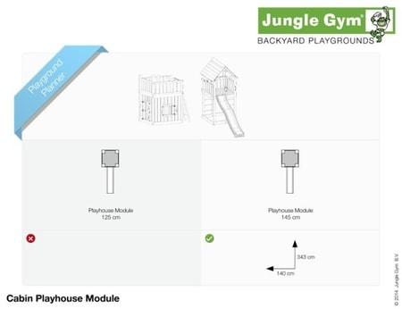 Hřiště Jungle Cabin s modulem Playhouse - kompletní sestava včetně skluzavky