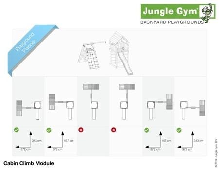 Hřiště Jungle Cabin s modulem Climb X´tra - kompletní sestava včetně skluzavky