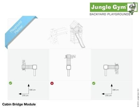 Hřiště Jungle Cabin s modulem Bridge - kompletní sestava včetně skluzavky