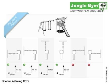 Hřiště Jungle Shelter s houpačkami 2-Swing X´tra - kompletní sestava včetně skluzavky