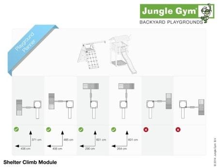 Hřiště Jungle Shelter s modulem Climb X´tra - kompletní sestava včetně skluzavky