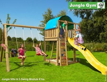 Hřiště Jungle Villa s houpačkami 2-Swing X´tra - kompletní sestava včetně skluzavky