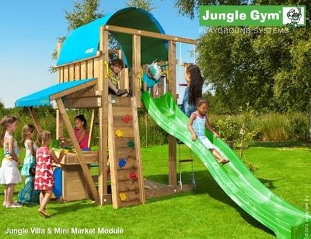 Hřiště Jungle Villa s modulem MiniMarket - kompletní sestava včetně skluzavky