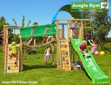 Hřiště Jungle Villa s modulem Bridge - kompletní sestava včetně skluzavky