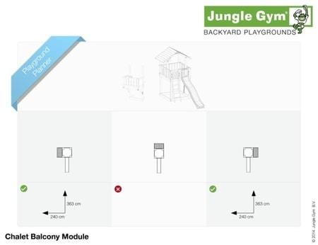 Hřiště Jungle Chalet s modulem Balcony - kompletní sestava včetně skluzavky