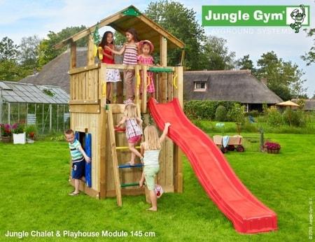 Hřiště Jungle Chalet s modulem Playhouse - kompletní sestava včetně skluzavky