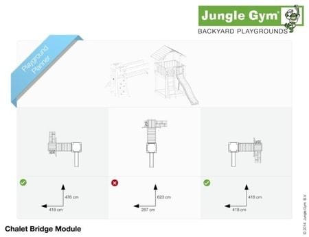Hřiště Jungle Chalet s modulem Bridge - kompletní sestava včetně skluzavky