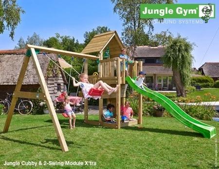 Hřiště Jungle Cubby s houpačkami 2-Swing X´tra - kompletní sestava včetně skluzavky
