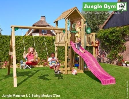 Hřiště Jungle Mansion s houpačkami 2-Swing X´tra - kompletní sestava včetně skluzavky