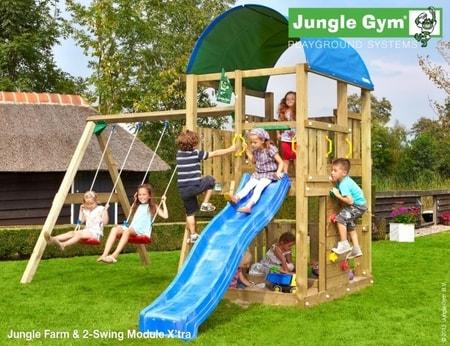 Hřiště Jungle Farm s houpačkami 2-Swing X´tra - kompletní sestava včetně skluzavky