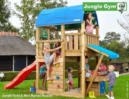 Hřiště Jungle Farm s modulem MiniMarket - kompletní sestava včetně skluzavky
