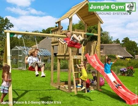 Hřiště Jungle Palace s houpačkami 2-Swing X´tra - kompletní sestava včetně skluzavky