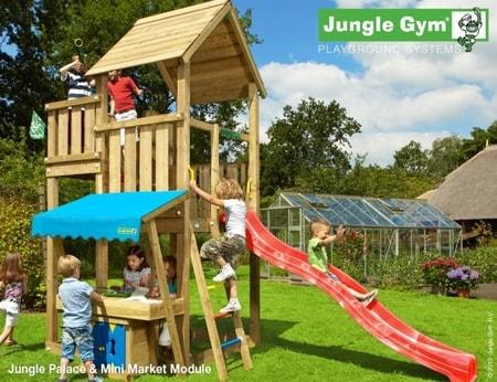 Hřiště Jungle Palace s modulem MiniMarket - kompletní sestava včetně skluzavky