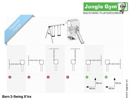 Hřiště Jungle Barn s houpačkami 2-Swing X´tra - kompletní sestava včetně skluzavky