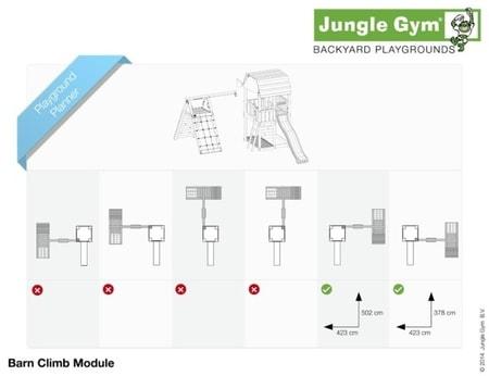 Hřiště Jungle Barn s modulem Climb X´tra - kompletní sestava včetně skluzavky