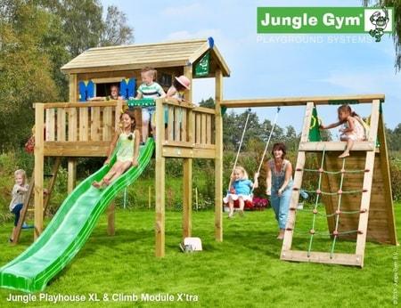 Jungle Playhouse s terasou XL a modulem Climb X´tra - kompletní sestava včetně skluzavky