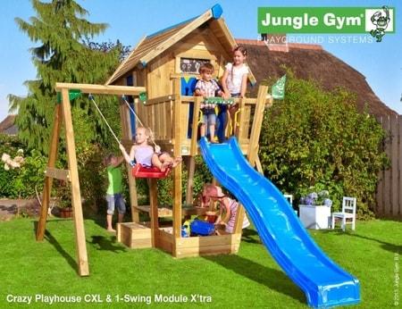 Jungle Crazy Playhouse s terasou XL a houpačkou 1-Swing X´tra - kompletní sestava včetně skluzavky