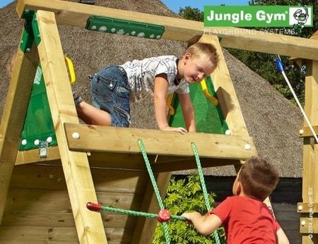Jungle Crazy Playhouse s terasou XL a modulem Climb X´tra - kompletní sestava včetně skluzavky