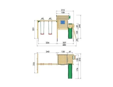 Jungle Playhouse s terasou L a houpačkami 2-Swing X´tra - kompletní sestava včetně skluzavky
