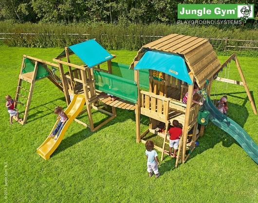 Velká hrací sestava hřišť a modulů Jungle Gym 1. včetně skluzavek