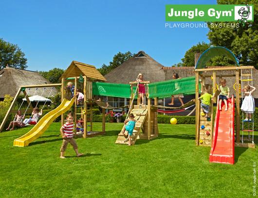 Velká hrací sestava hřišť a modulů Jungle Gym 2. včetně skluzavek