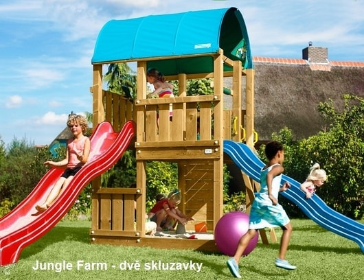 Dětské hřiště Jungle Farm - kompletní sestava včetně skluzavky
